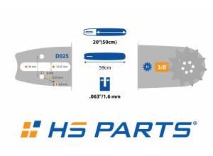 "HS PARTS Vodiaca líšta 20"" (50 cm) 3/8"" .063"" (1,6 mm) 72 čl."